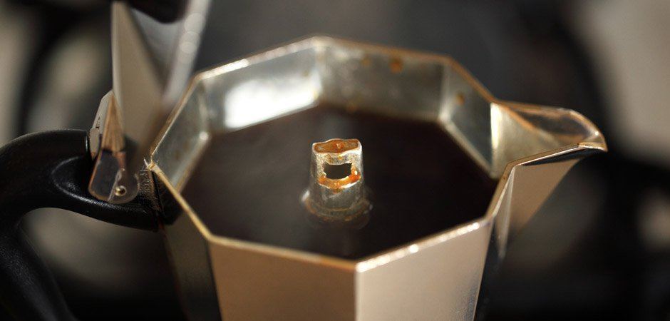 Coffee finished brewing in the moka pot stovetop coffee maker how to.